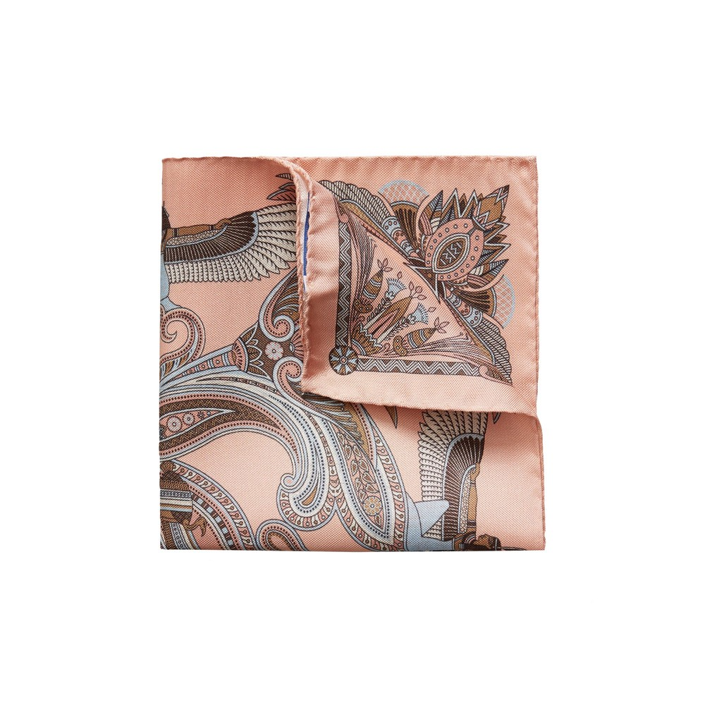 Eton Pink Ancient Inspired Paisley Print Pocket Square Pink