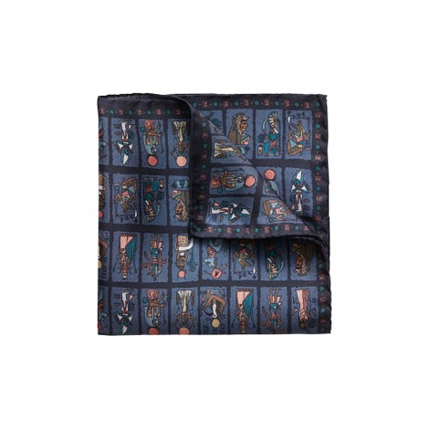 Eton Navy Egyptian Print Silk Pocket Square