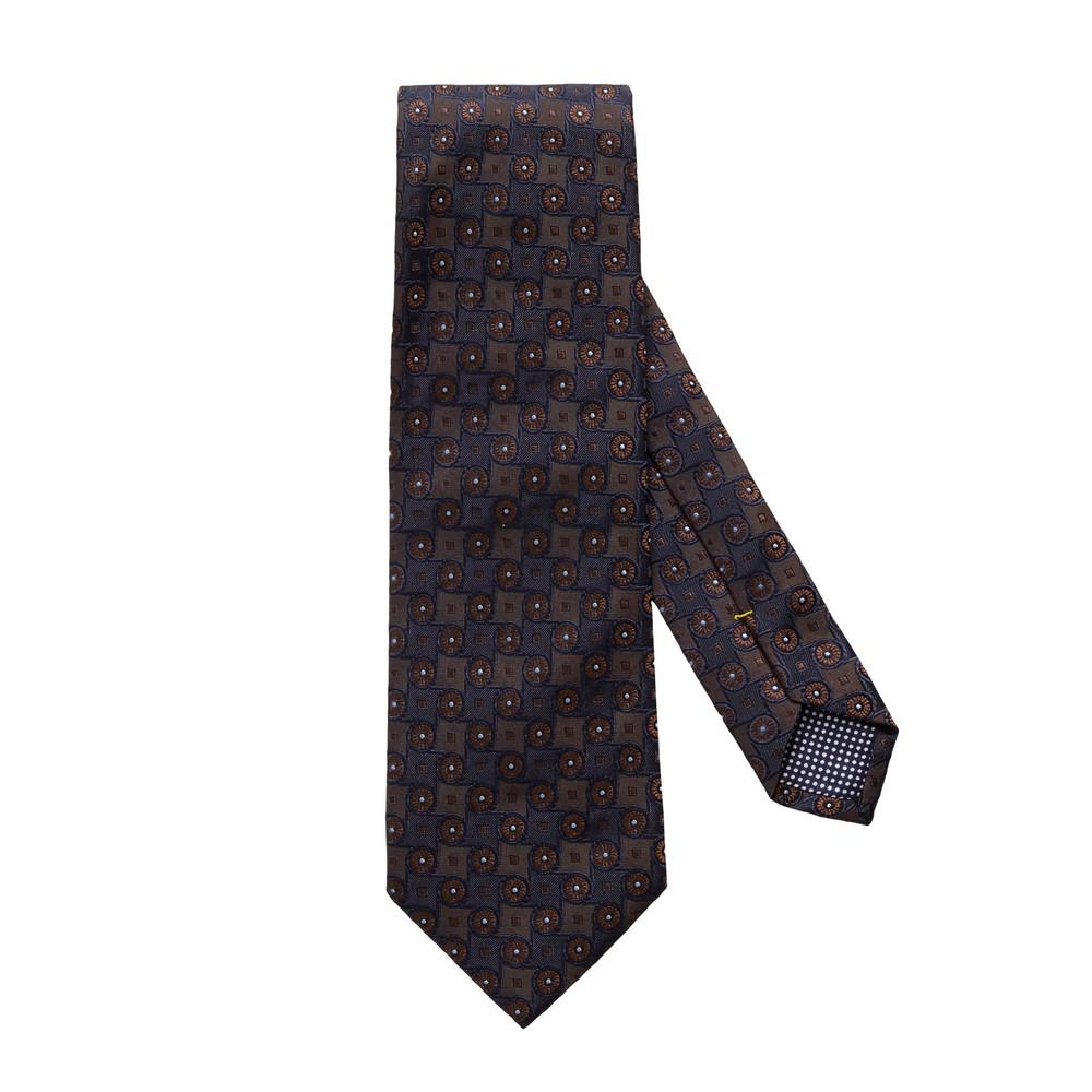 Eton Brown Geometric Pattern Silk Tie Brown