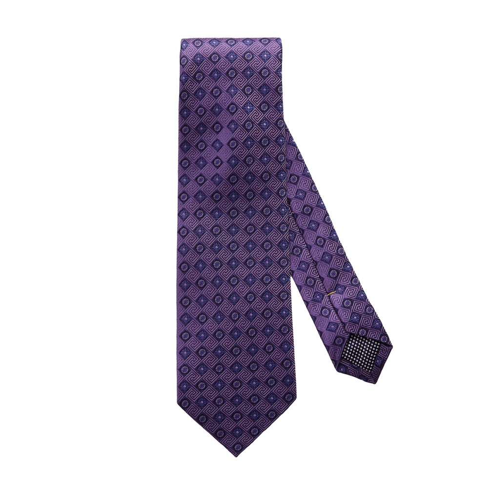 Eton Purple Diamond Floral Silk Tie Purple