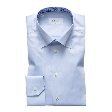 Eton Slim Fit Sky Blue Twill Shirt – Papyrus Print Details