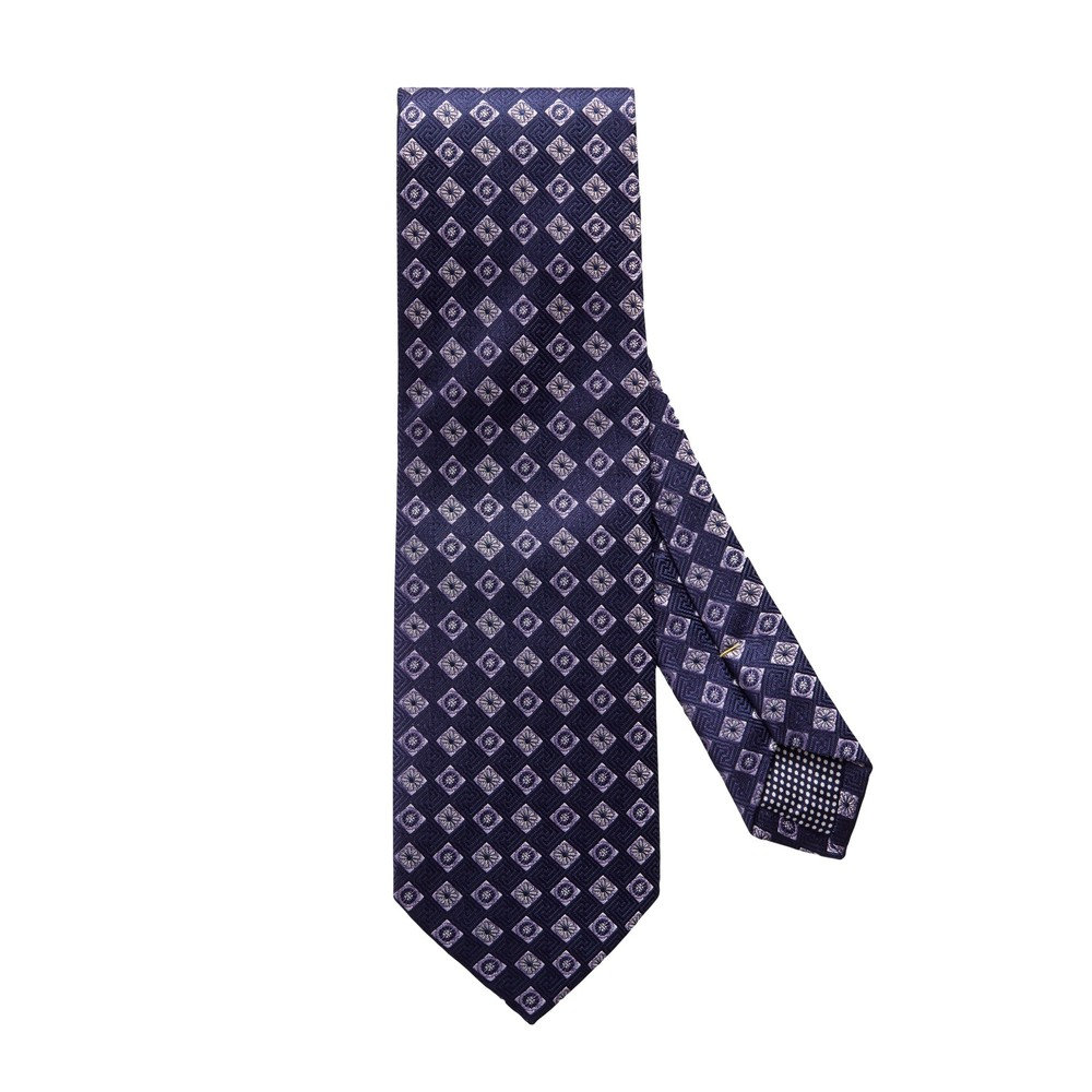 Eton Navy Diamond Floral Silk Tie Navy