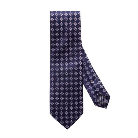 Eton Navy Diamond Floral Silk Tie