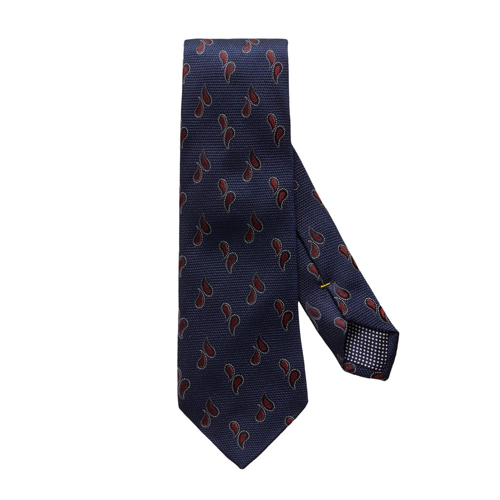 Eton Navy Tear Drop Pattern Silk Tie Navy