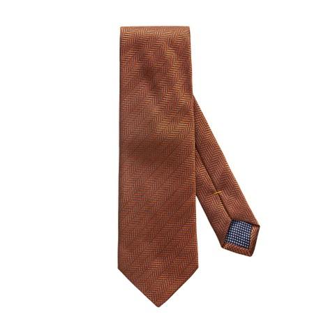 Eton Orange Herringbone Silk Tie