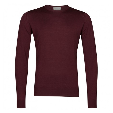 John Smedley Lundy Crew Neck in Bordeaux