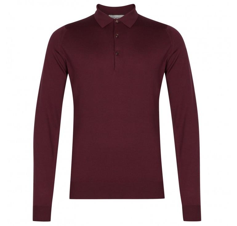 John Smedley Belper Shirt LS Polo Bordeaux