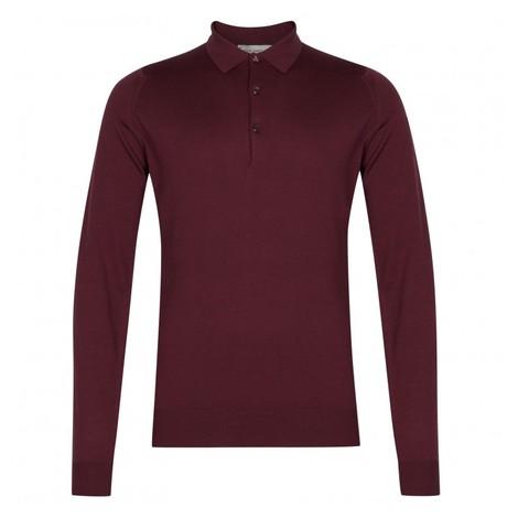 John Smedley Belper Shirt LS Polo in Bordeaux