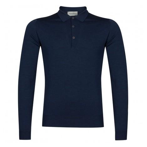 John Smedley Belper Shirt LS Polo in Blue