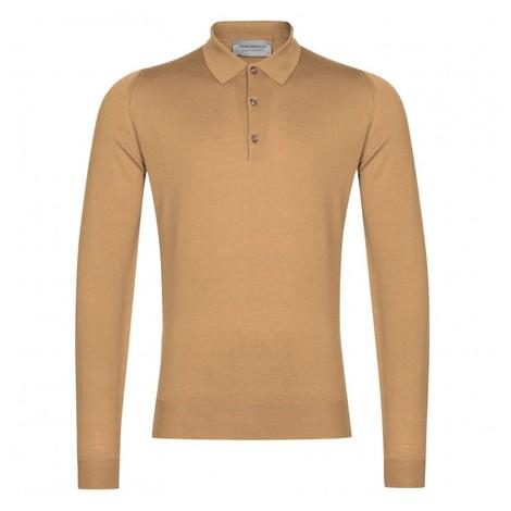 John Smedley Belper Shirt LS Polo in Camel