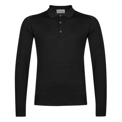 John Smedley Belper Shirt LS Polo in Hepburn Smoke