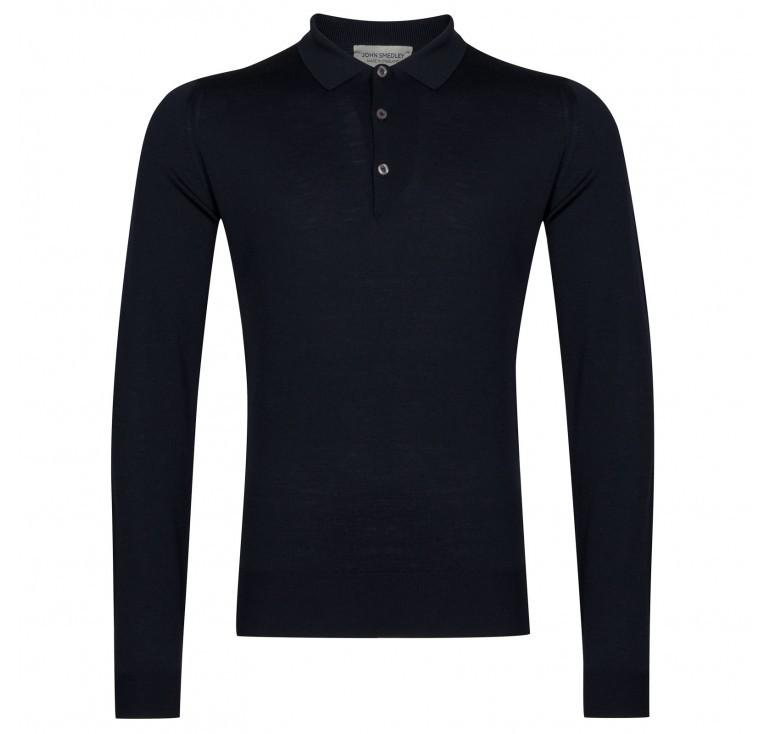 John Smedley Belper Shirt LS Polo Navy