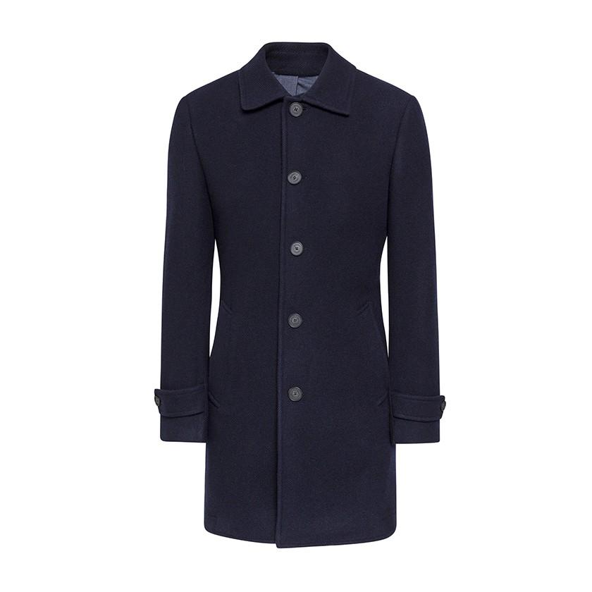 Hackett Washed Wool Twill Coat Navy