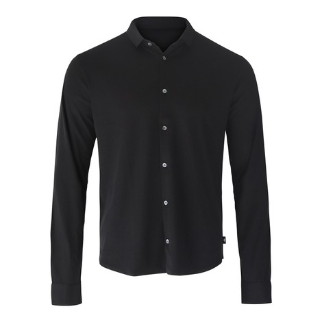 Emporio Armani Slim Fit Jersey Shirt in Black