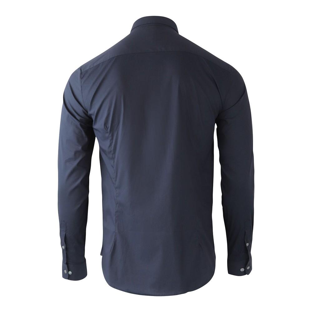 Emporio Armani Stretch Poplin Shirt with Armani Logo Tape Navy