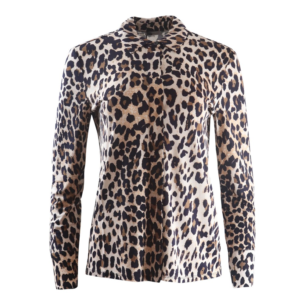 Marella Long Sleeve Leopard Print Jersey Blouse Animal Print