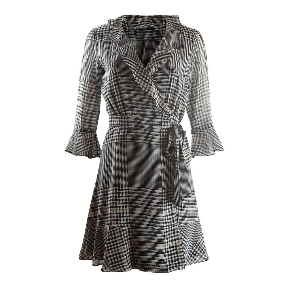 Marella Tiro Longsleeve Check Wrap Dress Black & White