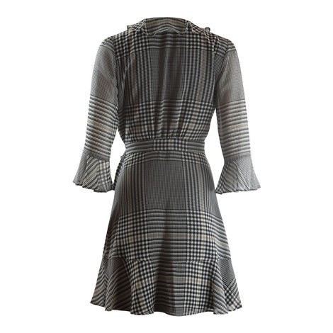 Marella Tiro Longsleeve Check Wrap Dress