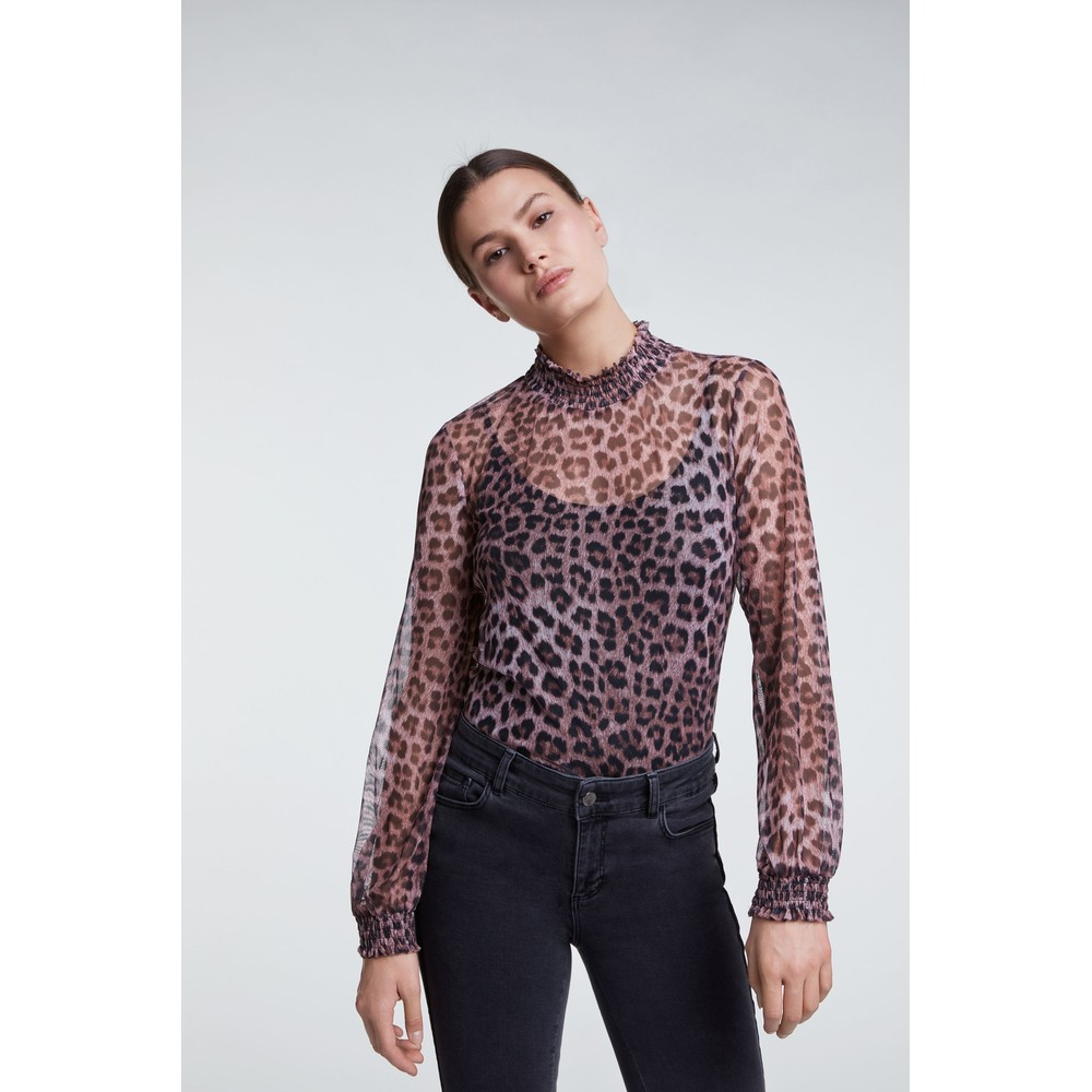 Set Leopard Print Blouse Pink