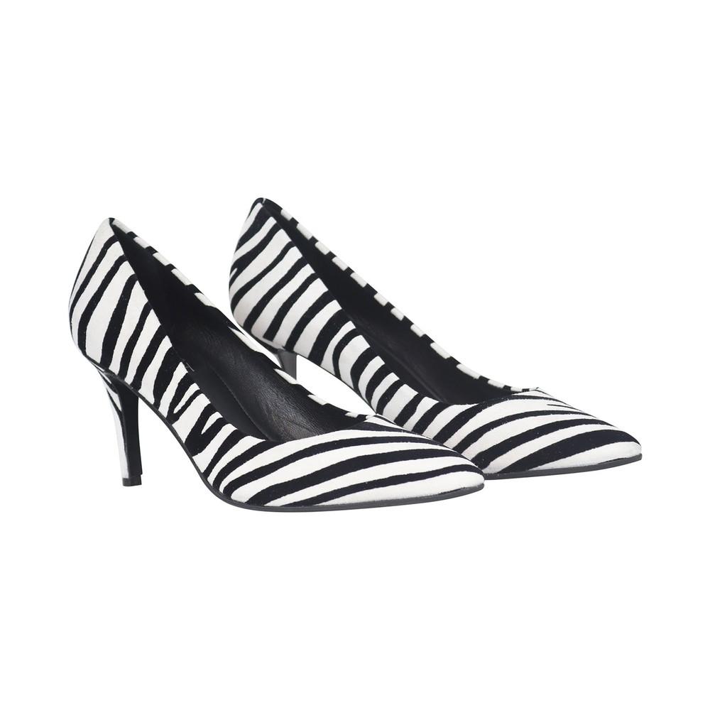 Aristocrat Zebra Bianco Lower Heel Animal Print