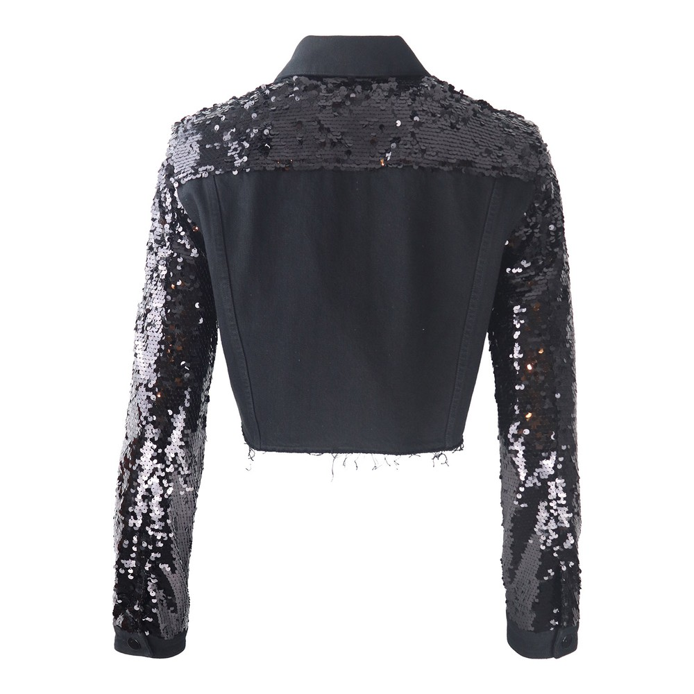 J Brand Cropped Cyra Sequin Jacket Black