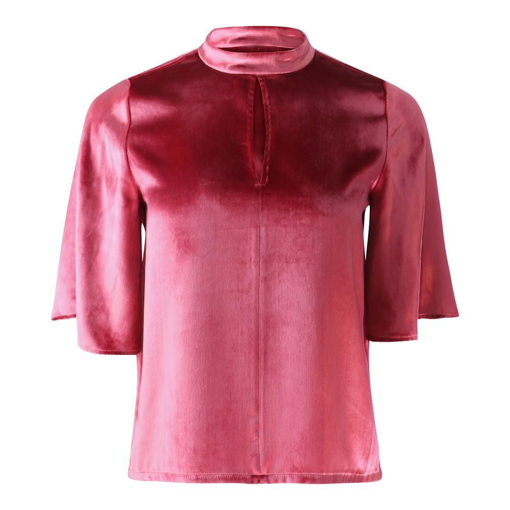 J Brand Chani Short Sleeve Velvet Top Pink