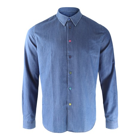 PS Paul Smith Tailored-Fit Mid-Wash Denim Shirt With Multi-Colour Button Placket