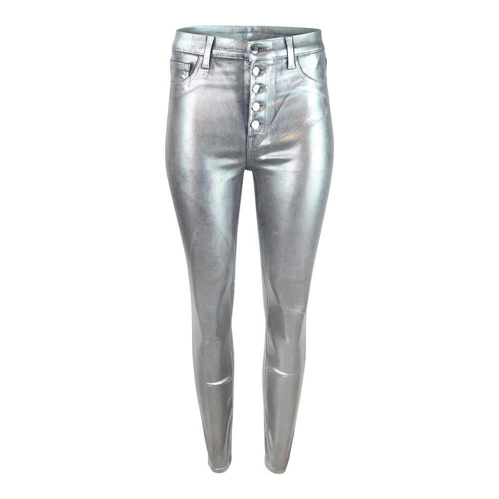 J Brand Lillie High Rise Crop Skinny Galactic Silver Jean Silver
