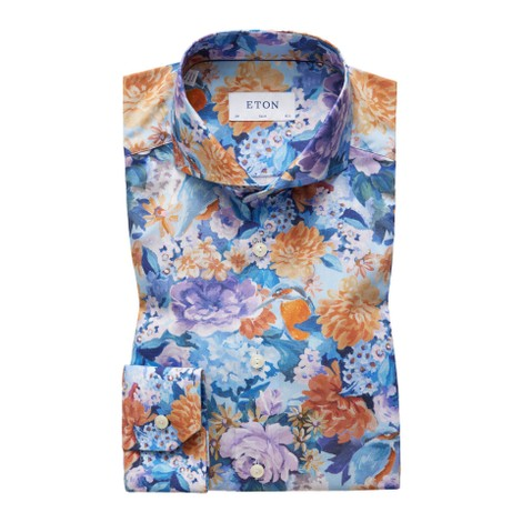 Eton Slim Fit Floral Print Cotton-Tencel Shirt