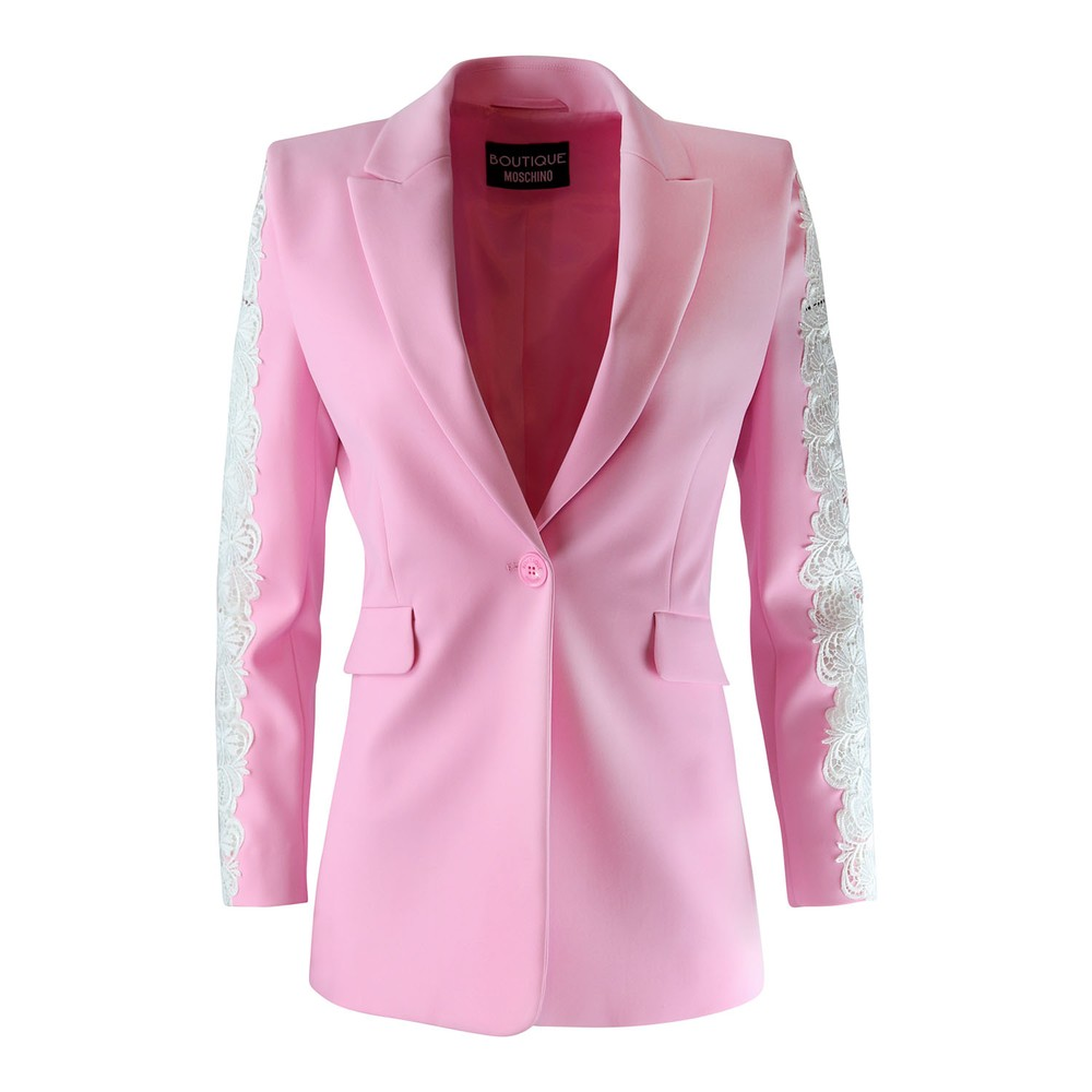 Moschino Boutique Lace Insert Jacket Pink