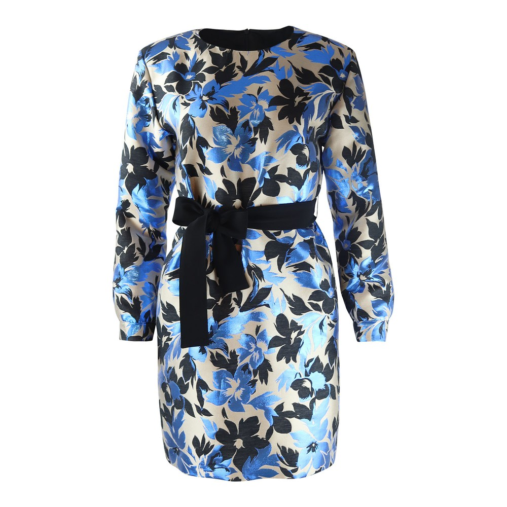 Moschino Boutique Floral Print Long Sleeve Dress Multi