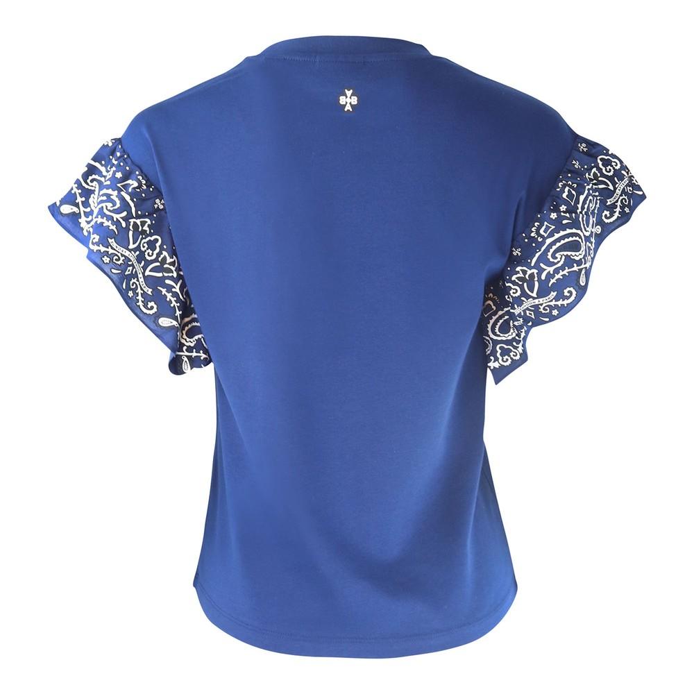 Scotch & Soda Bandana Ruffled Sleeve T-shirt Blue