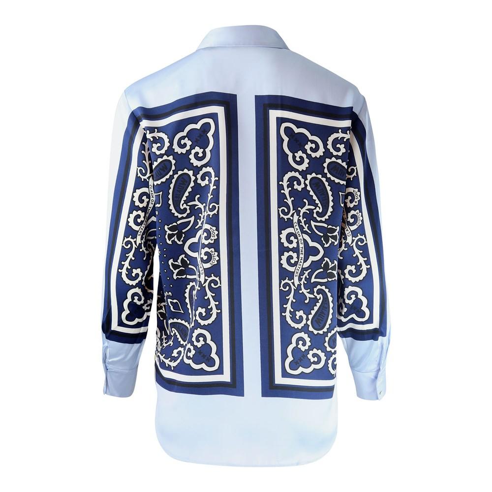 Scotch & Soda Bandana Print Silk Shirt Sky Blue