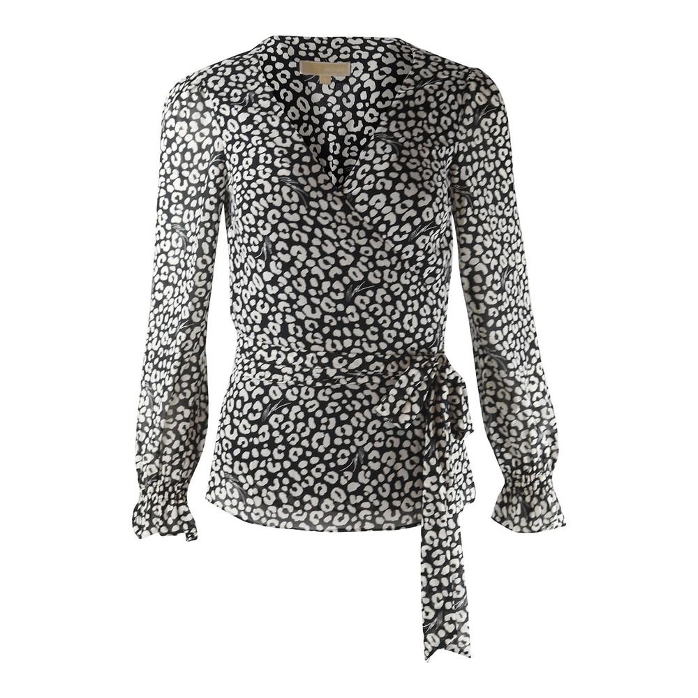 Michael Kors Leopard Print Wrap Top Animal Print