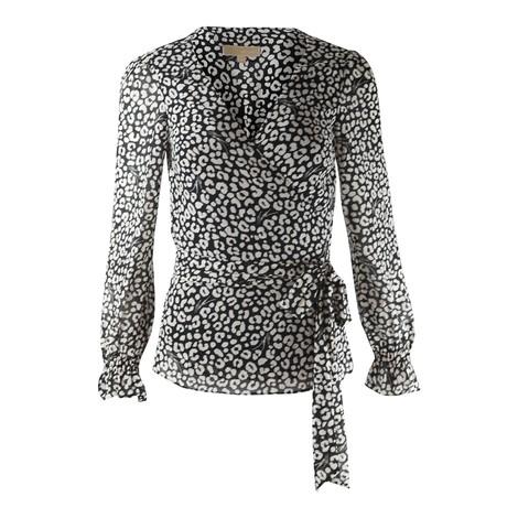 Michael Kors Leopard Print Wrap Top