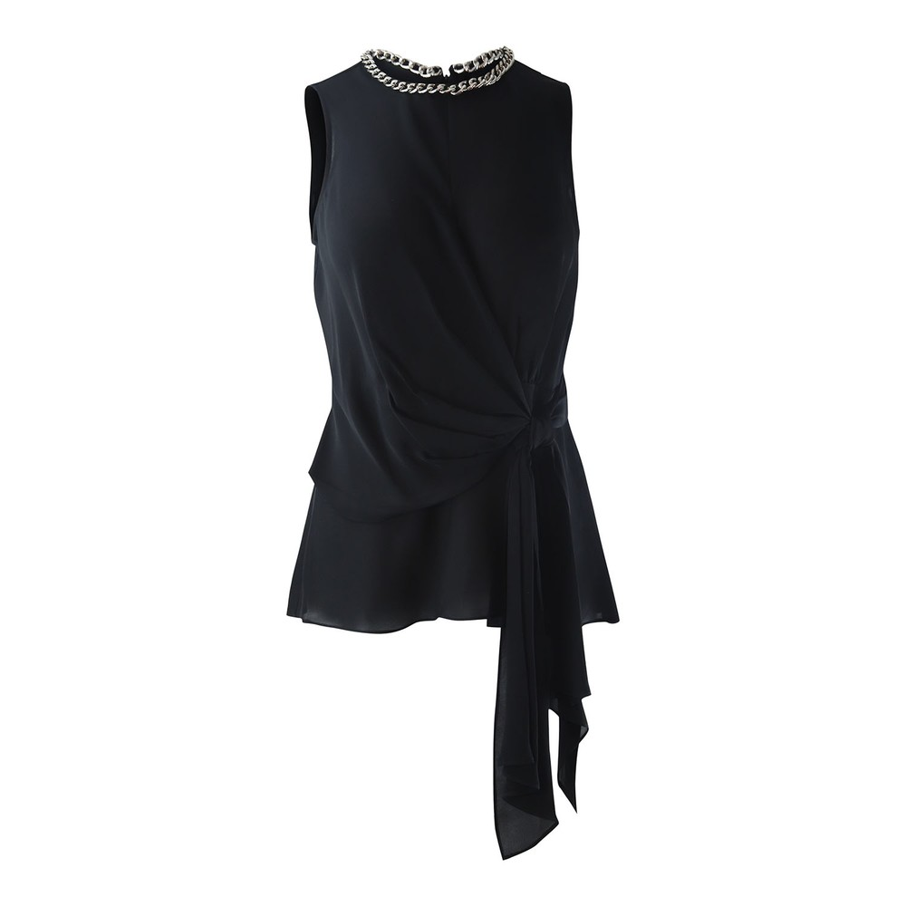 Michael Kors Chain-Link Silk Wrap Top Black