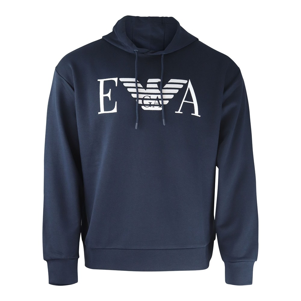 Emporio Armani Hooded Sweatshirt with Embroidered Logo Navy