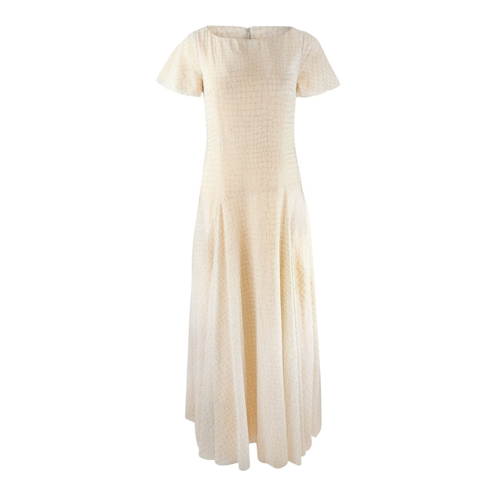 Moschino Boutique Glitter Croc Print Maxi Dress Gold