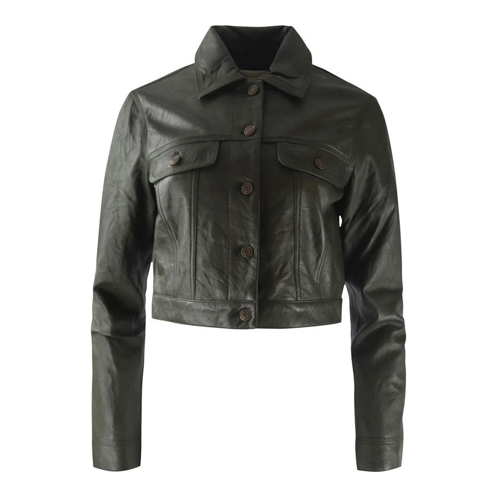 Michael Kors Leather Denim Jacket Ivy