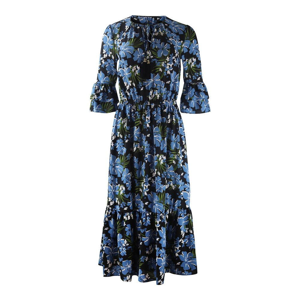 Michael Kors Tropical Mix Tie Dress Blue