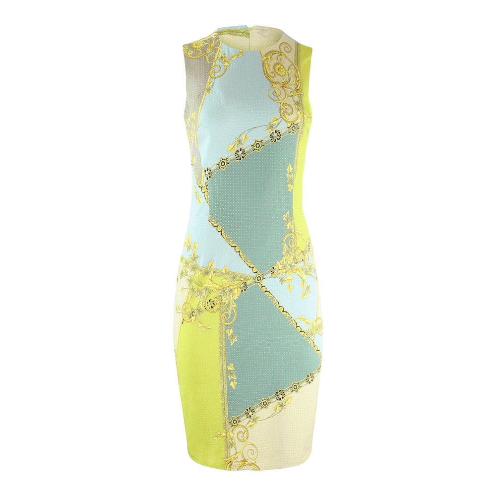 Versace Collection Print Dress with Studs Blue and Lime
