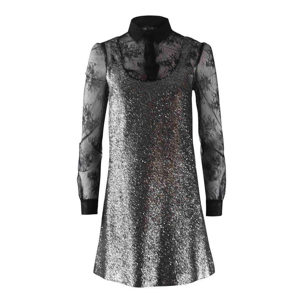 Moschino Boutique Silver Lurex Tunic Dress Lace Top Silver