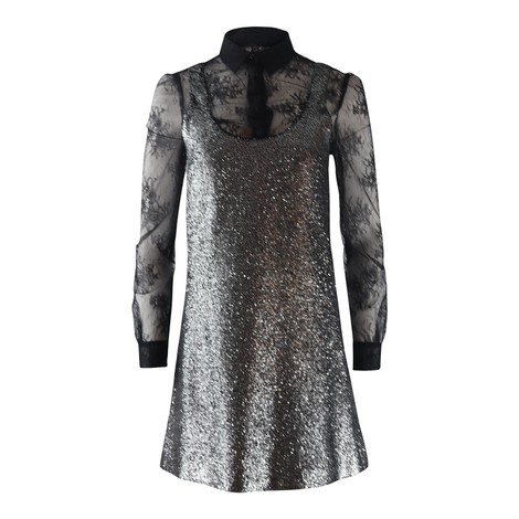 Moschino Boutique Silver Lurex Tunic Dress Lace Top