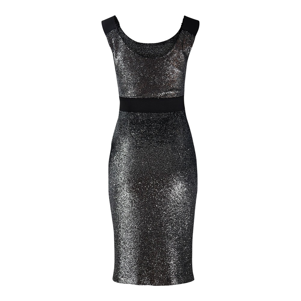 Moschino Boutique Silver Lurex Fitted Dress Silver