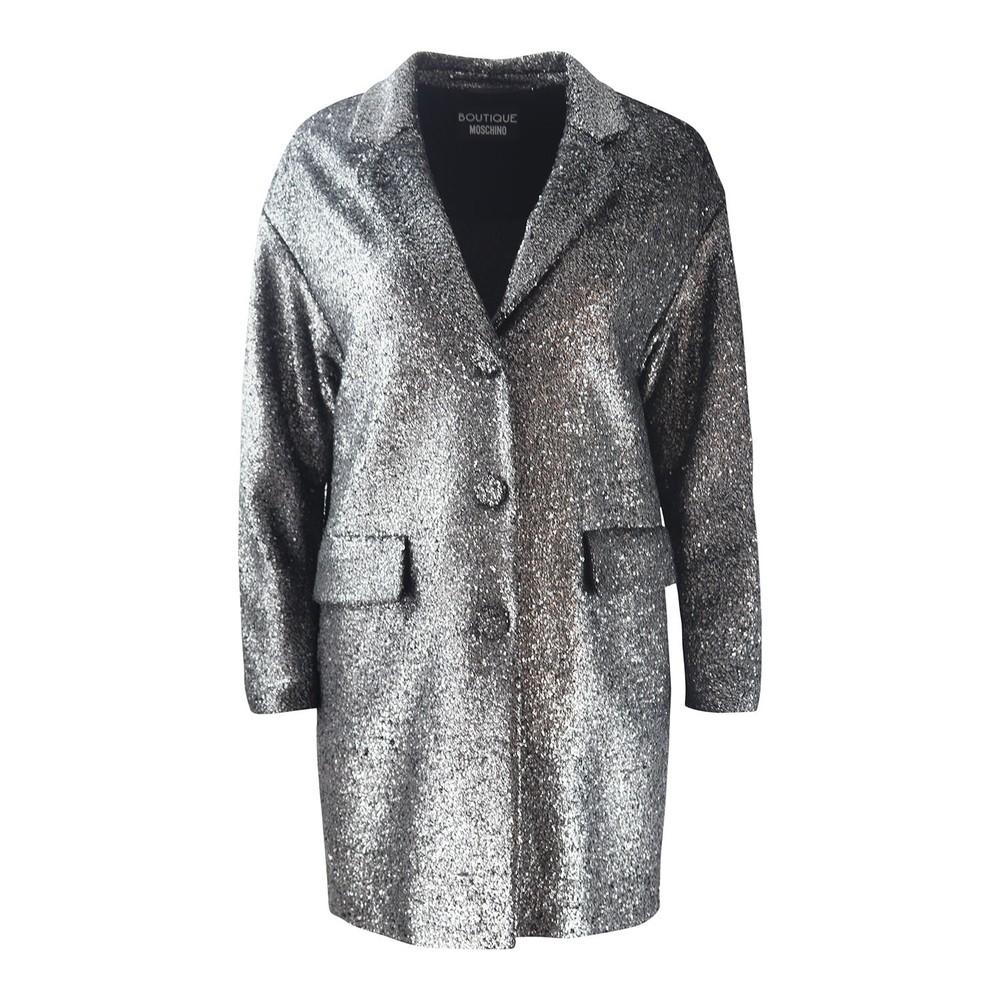Moschino Boutique Silver Lurex Coat Silver
