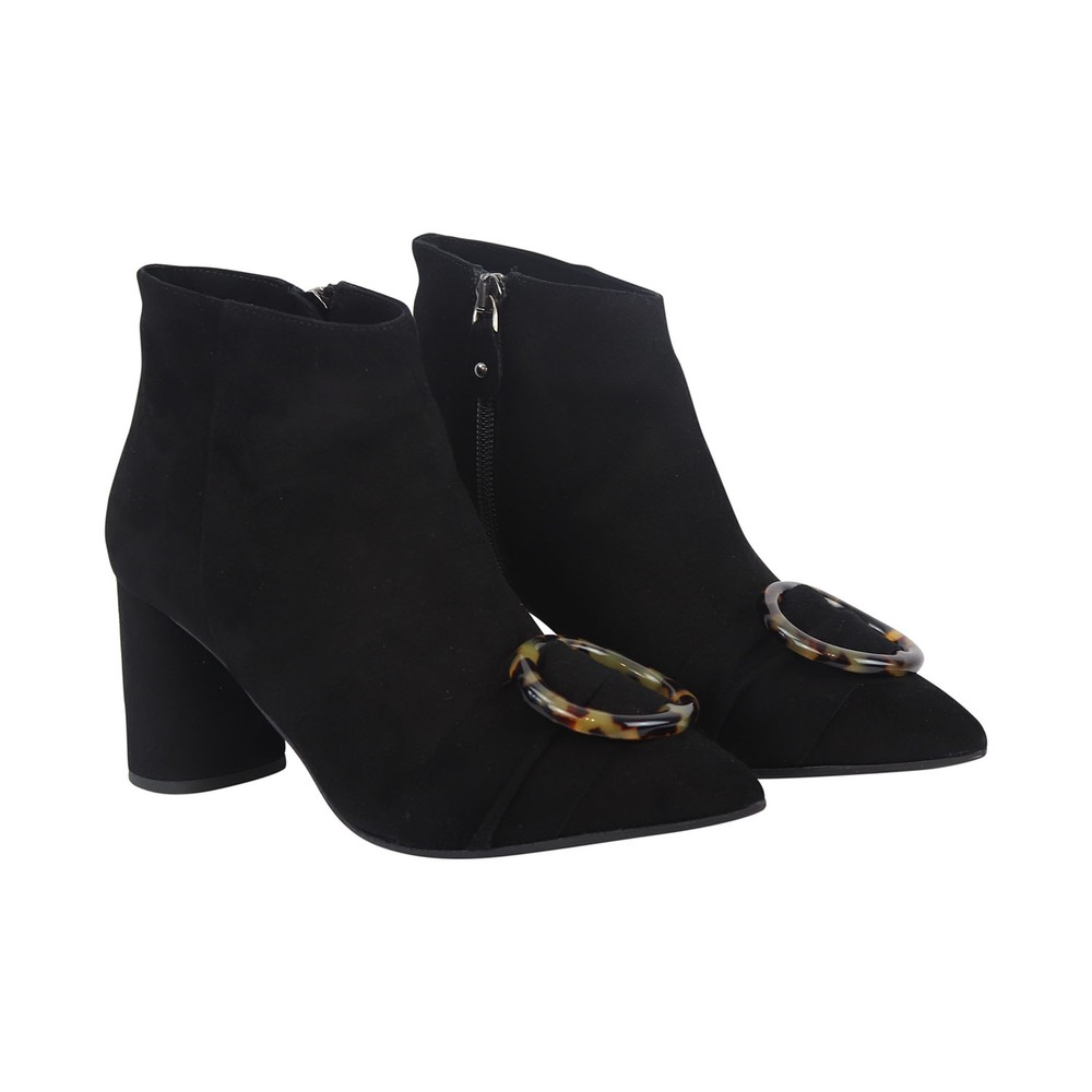 Aristocrat Tortoise shell effect buckle suede ankle boot Black