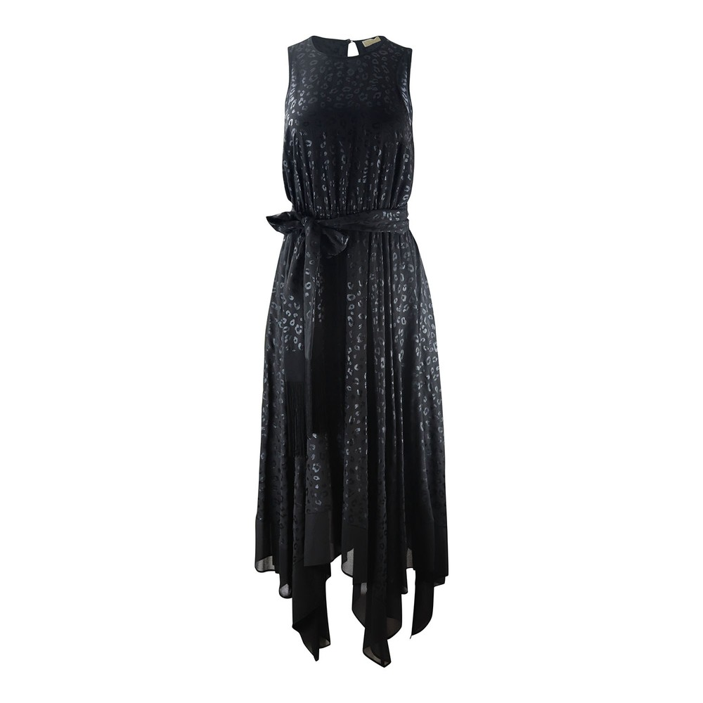 Michael Kors Spot Cheetah Coated Handkerchief Hem Dress Black