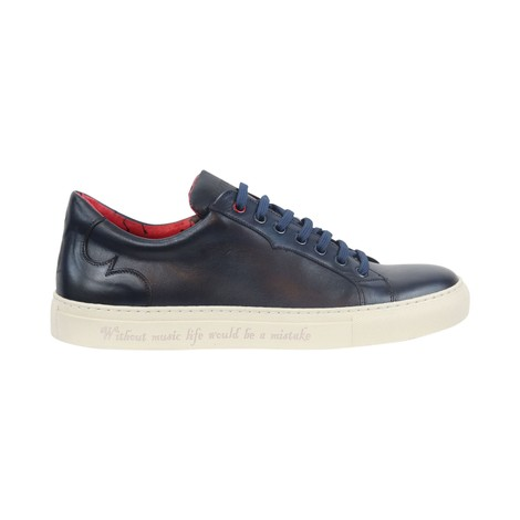Jeffery West Apollo Dark Blue Leather Trainers