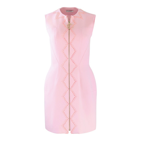 Versace Collection Zip Through Dress with Pink Crystals