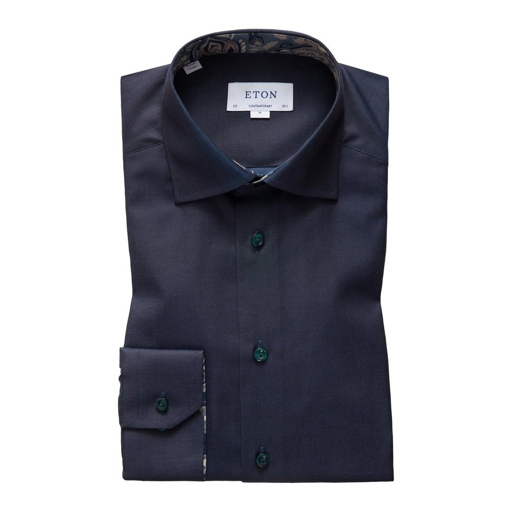 Eton Contemporary Fit Dark Teal Cotton-Tencel Shirt - Paisley Details Teal